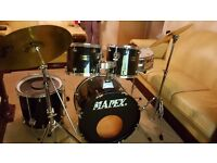 Mapex Venus 5 Piece full drum kit with cymbals, stool, and sticks.