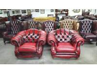 Stunning pair of oxblood Thomas Lloyd chesterfield club chairs UK delivery CHESTERFIELD LOUNGE