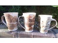 3 THREE Stoneware Tea Coffee Mug Rustic Handmade