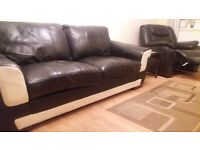 Leather sofa (3seater) still with guartantee, real leather. ex dfs. 2yrs.