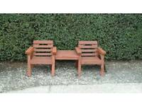 Garden bench, his and hers