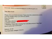Lockdown festival weekend ticket WITH camping
