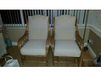 Quality Wood frame 2 seater and 2 chairs cream cushions in good condition