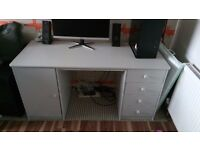 Painted Wooden (Pine) John Lewis Desk with drawers and Cupboard