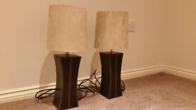 2 Table lamps with faux leather base and faux suede shades. Excellent condition