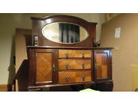 Mahogany antique Queen Anne with mirrorback vanity dresser