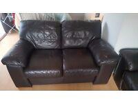 Brown Leather 2 Seater Sofa X2