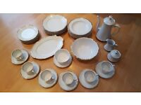 Stunning Unused 74 piece dinner service -by Mitterteich Bavaria white with real gold rims