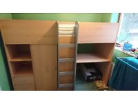 Mid Sleeper bed with integral desk, wardrobe, shelves & drawers