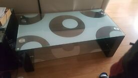 Thick glass two level coffee table. Great size modern
