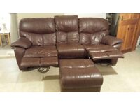 3 seater brown leather recliner and brown leather puffy