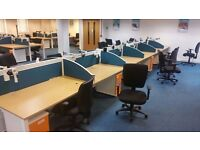 70 - BENCH DESKS USED , - OAK TOPS WHITE FRAMES - 1400 X 800MM , SCREEN PEDESYALS AVAIL EX COND