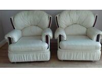 Cream leather 3 pce suite FREE