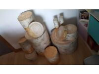 Decorative Wood/Log and Gold Flake look display stands