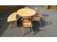 Large Oval White Oak Table 4 Chairs & Bench FREE DELIVERY 204