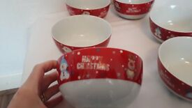 Set of 6 Christmas Breakfast Bowls
