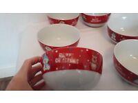 Set of 6 Christmas Breakfast Bowls