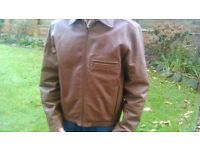 Marks and Spencer's Brown100% Leather Zipped Bomber Jacket- Mens 37 inch chest (small)