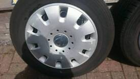 Vw transporter t5 t6 steel wheels tyres amd hub caps