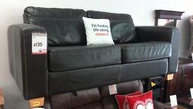 Brown Leather Sofa. BRITISH HEART FOUNDATION