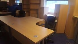 New beech crescent desk available in left or right hand side
