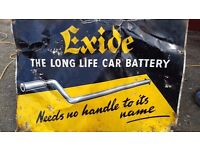 Vintage tin sign exide batteries needs no handle to its name original 1950?