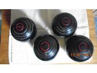 Lawn Bowls x 4. THOS TAYLOR, AGP brand. Older but still good. Size 5, No 3 bias