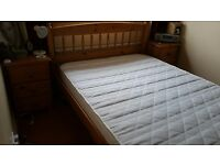 Pine 5ft Double Bed with mattress. Used only as spare bed. All good condition