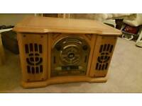 Vintage record player, CD & radio