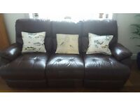 3 seater leather recliner sofa brown
