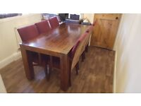 Dark Oak Rustic Dining Table and 6 chairs