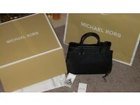 real michael kors saffianno leather bag in black