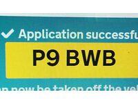 P9 BWB - PRIVATE REG PLATE