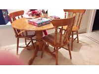 pine table, drop leaf - plus three chairs