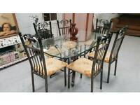 Ex Stevensons Large Solid Wrought Iron Dining Table 6 Chairs In Vgc Can Deliver 07808222995