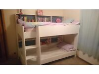 Kids parisot tam tam bunk beds in white with pink or blue sheves