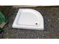 Heavy resin and stoneware quadrant shower tray, in used but clean condition.