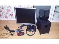 "Acer X173 17"" monitor + technika 2.1 speakers + Phillips SHP2000 headphones + optical mouse = SET"