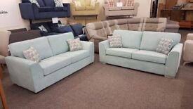 Pair Of 3 Seater Light Blue Fabric Sofas Can Deliver