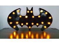 Batman Black Metal Standing LED Light warm yellow led 25x38cm Approx