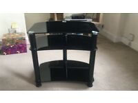 Black glass tv table great condition no scratches
