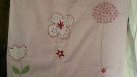 Pink Patterned Next Curtains with lining attached..66x54