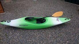 Perception whiplash kayak and palm paddle