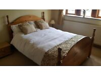 Solid Pine Double Bed with Silentnight Mattress