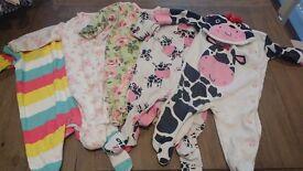 Beautiful Baby girl sleepsuit bundle. Age 0-3 months