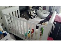 White Cot Bed with under bed storage and mattress