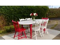 Stunning Red/White Extending Dining Table & 6 Chairs. Shabby Chic.