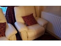 Cream leather reclining sofa with reclining armchair