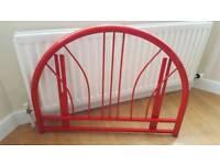 Single Red metal headboard