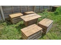 Hand-made pallet garden table and 4 stools